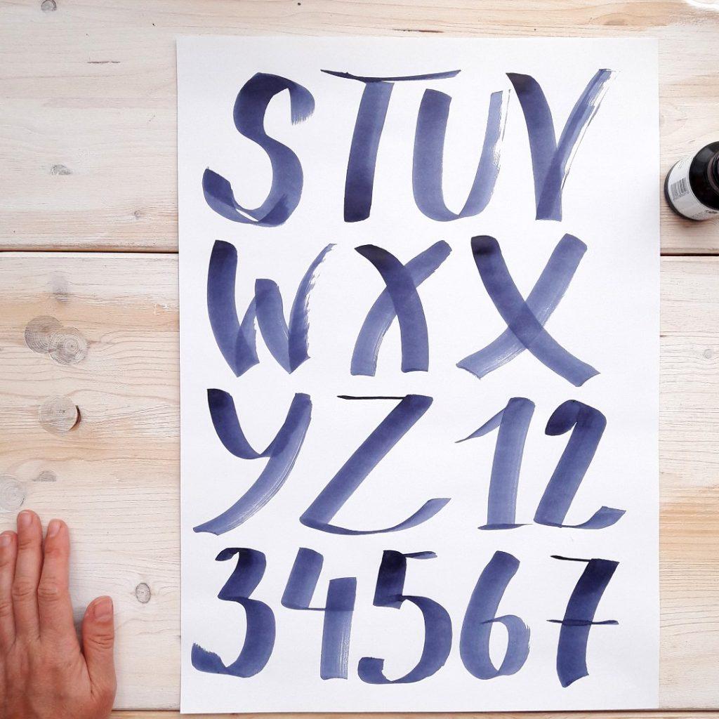 Brushlettering Stile ABC irma link artist