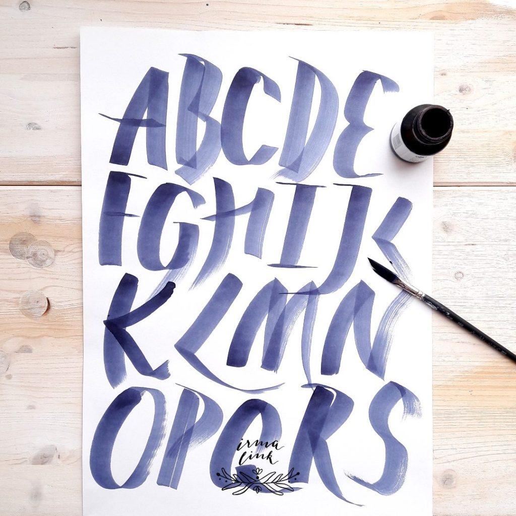 Brushlettering Stile Alphabet irma link artist