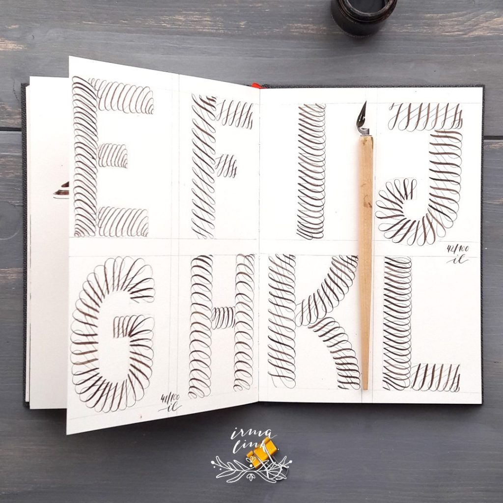 Moderne Kalligrafie Stile Flourish Alphabet irma link
