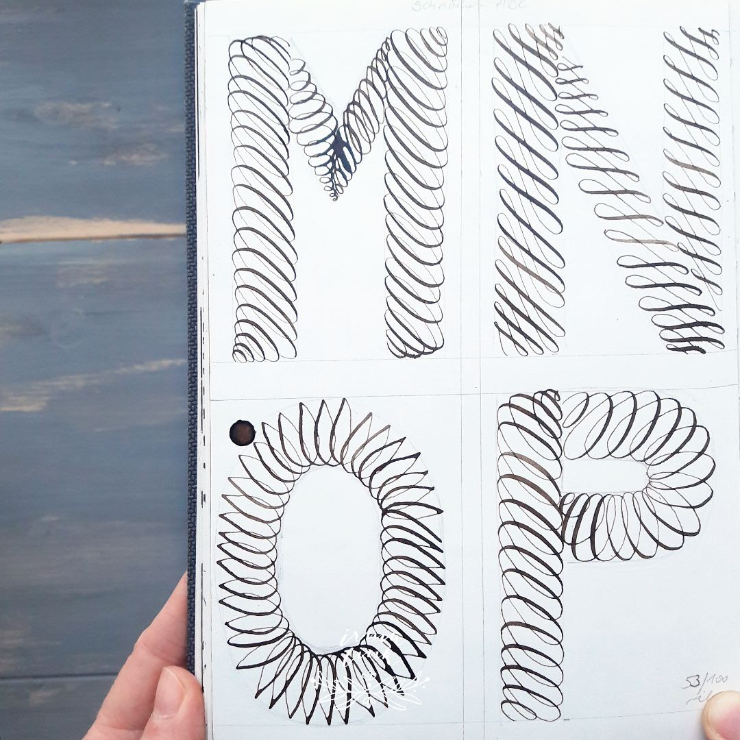 Moderne Kalligrafie Stile Flourishing ABC irma link