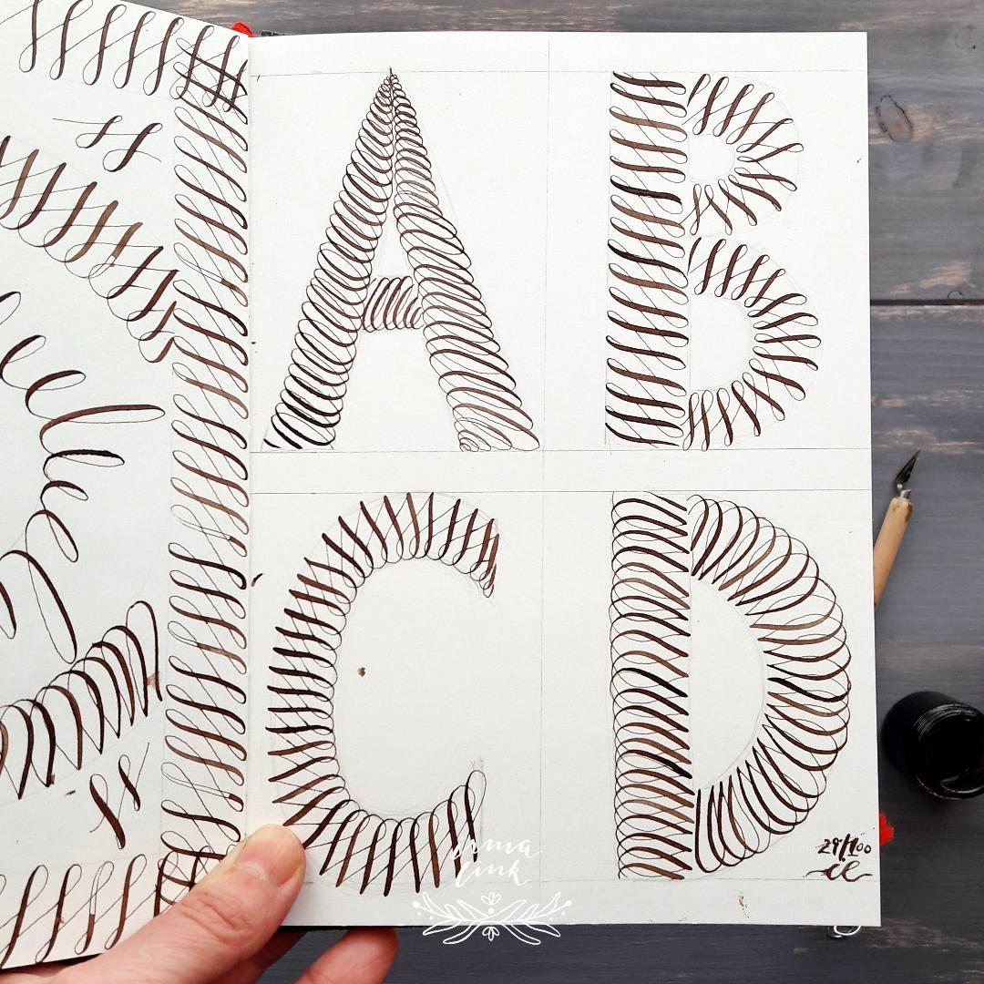 Moderne Kalligrafie Stile Flourishing Alphabet irma link