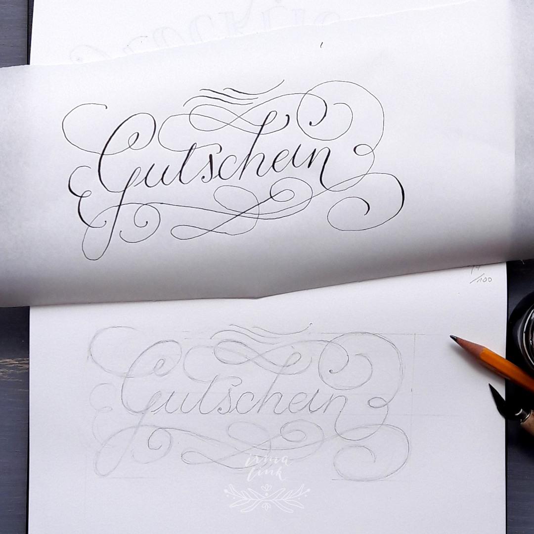 Moderne Kalligrafie Stile Flourishing Gutschein irma link