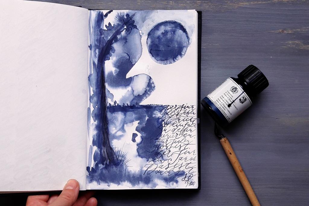 Tutorial Monochrom Malen lernen einfarbig mit einer Farbe malen Blog Kreativität irma link