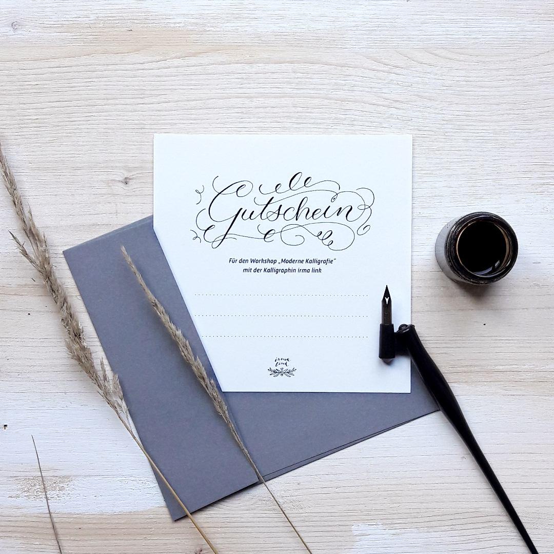 Moderne Kalligrafie Berlin Workshops irma link Gutschein Shop feinimdesign