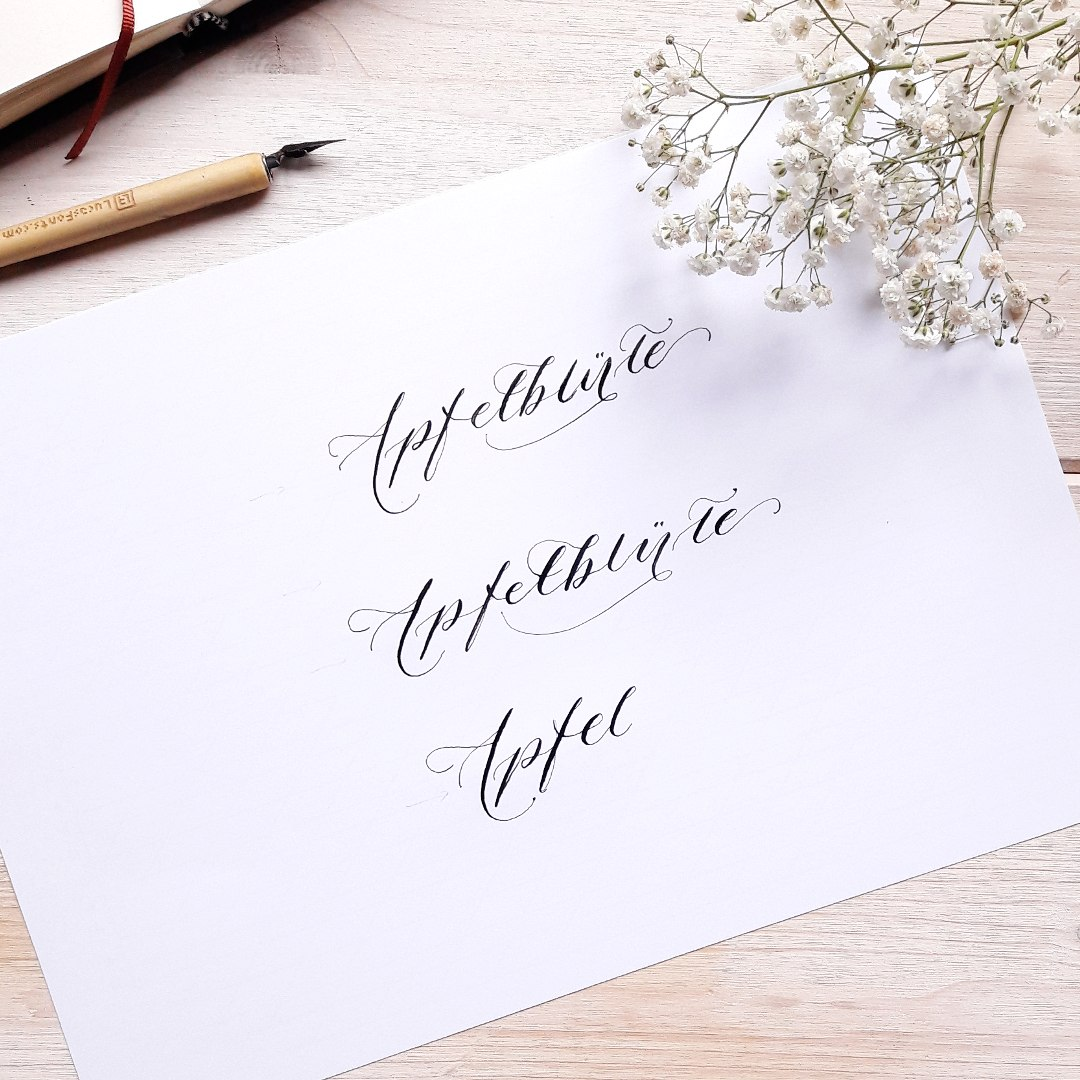Moderne Kalligraphie Flourishing Tutorial Apfelblüte Natur irma link Kalligraphin