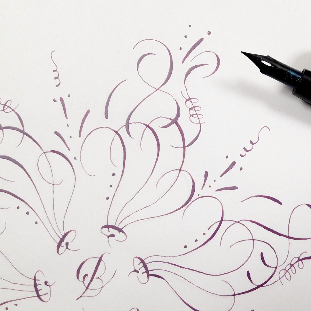 Moderne Kalligraphie lernen Wilpflanzen-Ornament schöbschreiben Workshop irma link