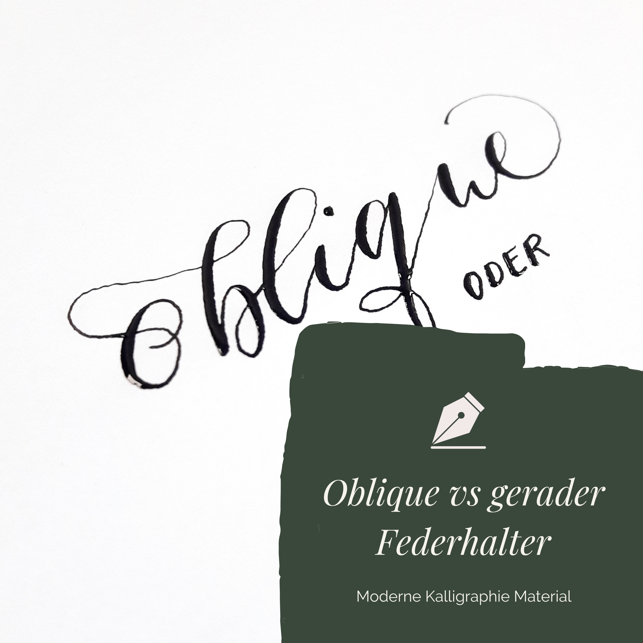 Oblique vs gerader Kalligraphie Federhalter, Bild zum Blog-Beitrag irma link Kalligraphie